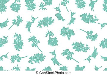 Branch of wormwood silhouette in turquoise color on white background, seamless pattern. Vector illustration