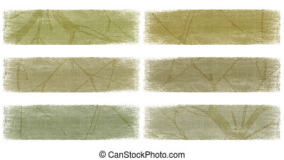 Branch on neutral earth tones banner set isolated