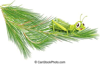 Branch with a happy grasshopper