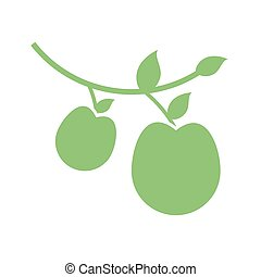 branch with apples icon, silhouette style