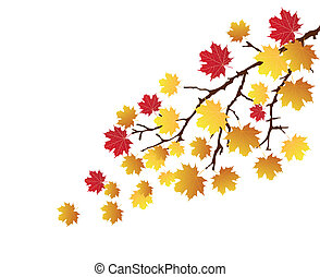 branch with fall leaves - vector branch with fall leaves