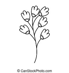 branch with flowers line style icon