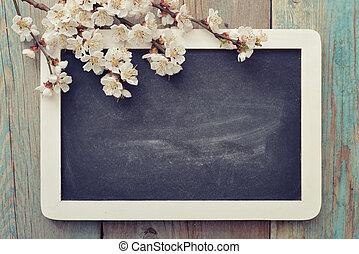 Branch with framed blackboard - Beautiful blossom branch ...