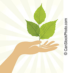 Branch with hands. Vector