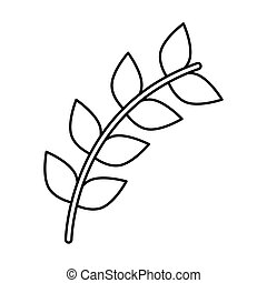 branch with leafs silhouette style icon