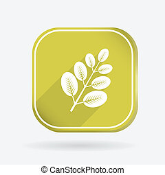 branch with leaves. Color square icon