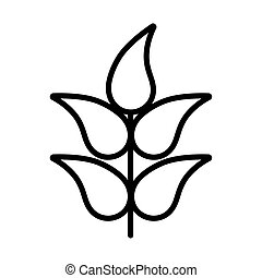 branch with leaves , line style icon