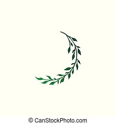 Branch with leaves vector sketch tattoo. Green gradient print design