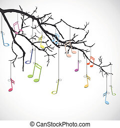 Branch with notes - Vector illustration of an isolated...