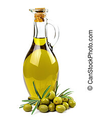olives and a bottle of olive oil - Branch with olives and a...