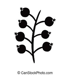 branch with seeds silhouette style icon