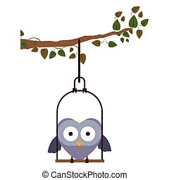 branch with swing and owl standing