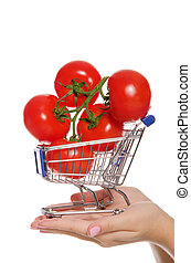 branch with tomatoes in shopping trolley on  palm