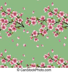 branche, arbre, seamless, fond, cerise