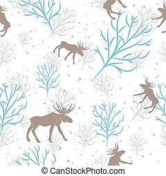 branche, cerf, arbre, seamless, vecteur, forêt, fond, pattern.