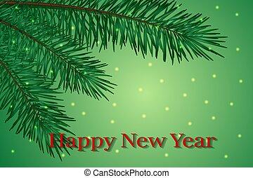 branche, félicitations, année, carte, endroit, sapin, nouveau