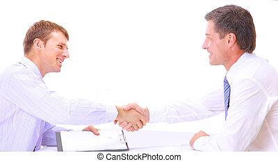 branche folk, hænder, oppe, færdigbehandle, møde, ryse