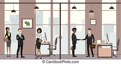 branche folk, moderne, sekretær, venter, kontor, kontor, cartoon, møde