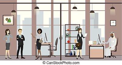 branche folk, sekretær, kontor, cartoon, møde