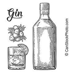 branche, genièvre, bouteille verre, gin, baies