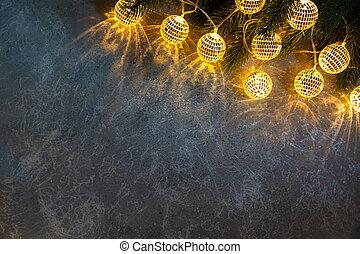 branche, guirlandes, sapin, lumière, fond, décoratif, texture, noël, balles, gris, incandescent