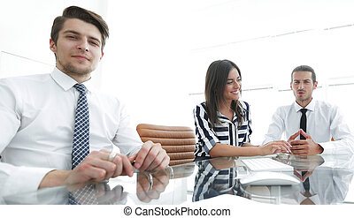 branche hold, arbejder, ind, kontor.