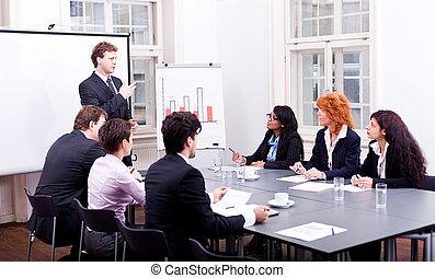 branche hold, på, tabel, ind, kontor, konference