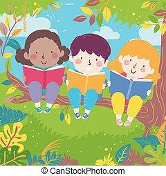 branche, illustration, arbre, lire, gosses, livres