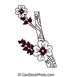 branche, isolé, icône, fleurs, desing