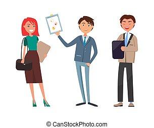 branche kvinde, arbejder, præsentation, plan, mand