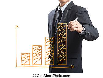 branche mand, affattelseen, i tiltagende, graph
