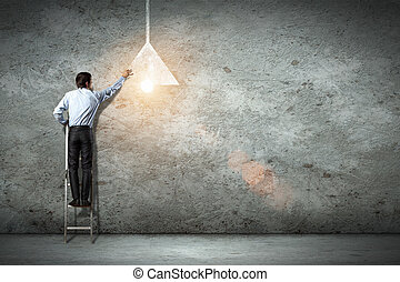 branche mand, affattelseen, lampe