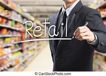 branche mand, skrift, glose, retail