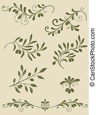 branche, olive, décoratif