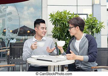 branche partner, arbejder, ind, hold, diskuter, issuesand, deler, nye ideer