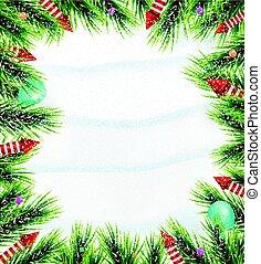 branche, pin, noël, fond, snowflake blanc, rouges, rockets.
