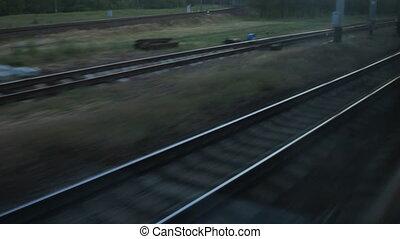 branchement, gilet, signal, fenêtre, ouvrier, train traque, ferroviaire, vue