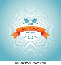 branches., 10eps., paix, illustration, vecteur, olive, international, pigeons, jour, ruban