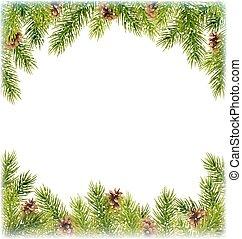branches, aimer, cadre, arbre, pin, vert, chute neige, noël...