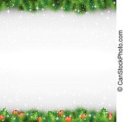 branches, aimer, sprigs, cadre, pin, snowfa, vert, houx,...