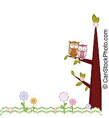 branches., amor, sentando, ilustração, corujas, vetorial
