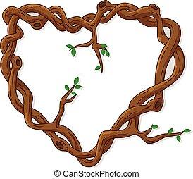 branches, amour, arbre, fait, cadre