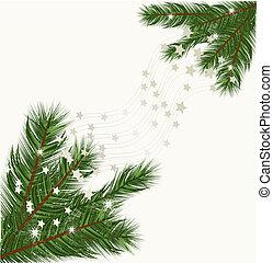 branches, arbre, fond, noël, vecteur