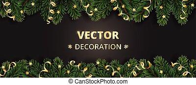 branches, arbre hiver, arrière-plan., ornaments., vacances, ...