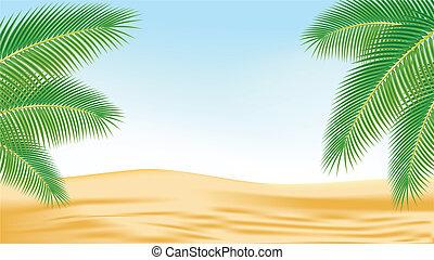 branches, arbres, paume, contre, desert., toile de fond