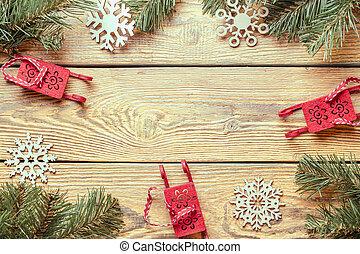 branches, bois, image, surface, année, jouets, impeccable, nouveau, snowflakes., sommet