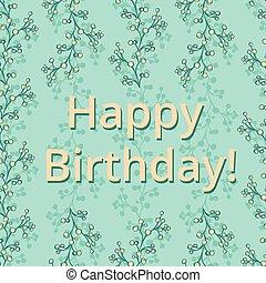 branches, card., salutation, anniversaire, vecteur, vert, délicat, floral, ditsy, heureux