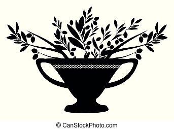 branches., culture., amphora, シンボル, 地中海, オリーブ