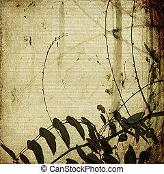branches, enchevêtré, grunge, papier, antiquité, bambou