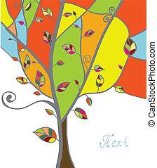 branches, feuilles, arbre, salutation, automne, carte
